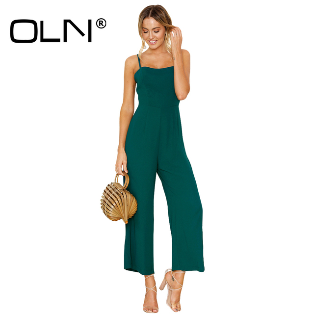 4c6b3b8c5a3 OLN 5 Color Jumpsuit Elegant 2018 Summer Overall Femme Romper Women Hippie  Chic Clothing Macacao Feminino Wide Leg Jumpsuit Y181