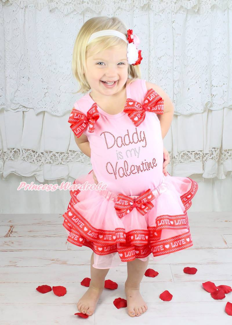 61cd237e5 O paizinho é meu Valentine dia amor rosa cetim guarnição saia NB-8Y  MAPSA0765