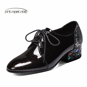 Image 2 - Women summer high heels fashion genuine leather pumps spring thick heels shoes square toe laces heel woman shoes 2020