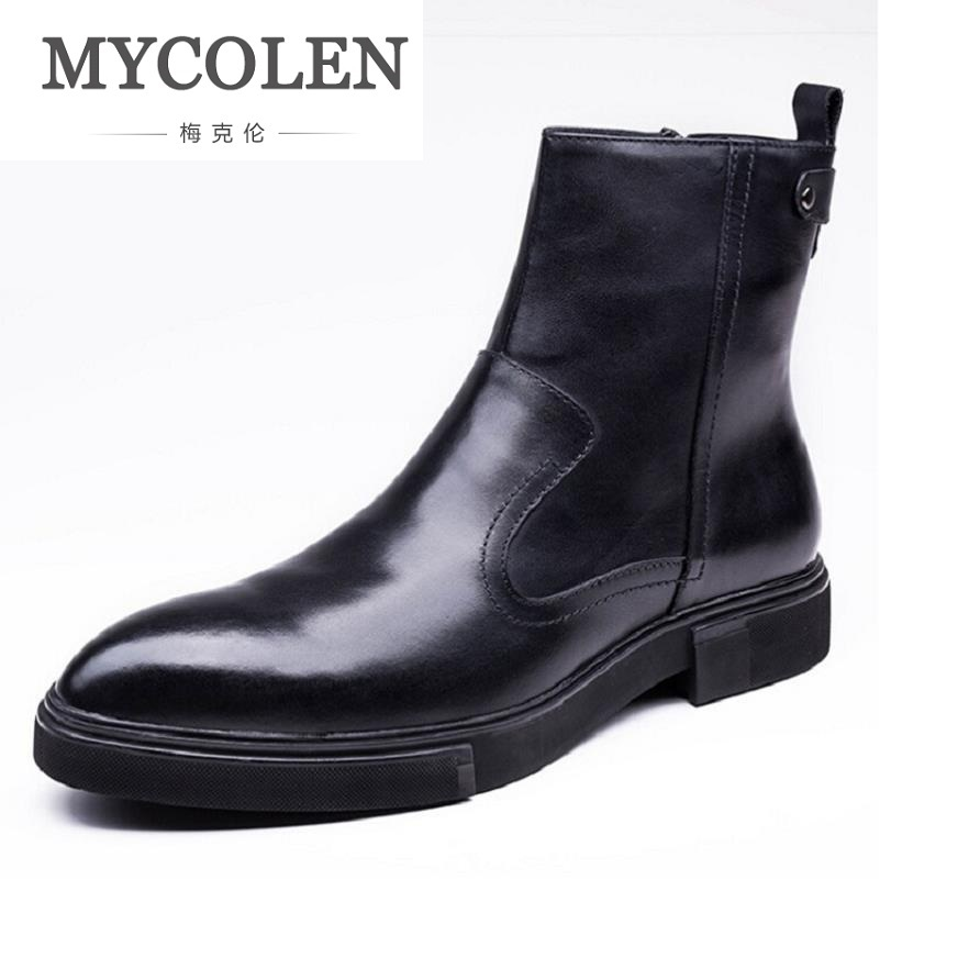 MYCOLEN High Quality Men Geuine Leather Shoes Black Retro Men Martin Boots Genuine Leather Male Boots Winter Ankle Shoes цены