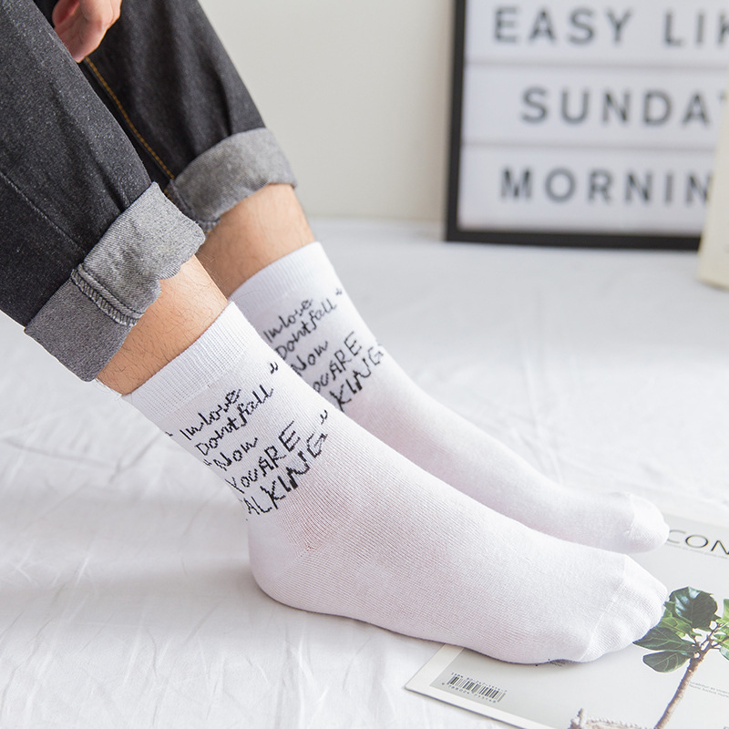 5 Pairs/ lot Mens Socks Funny Harajuku Cotton Letter Casual Crew Socks Male Breathable Fashion Dress Socks Autumn Spring Gift