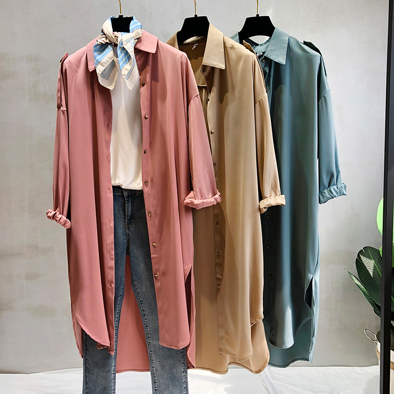 Fashion Bat Sleeved Street   Trenches   Women Long Korean Stylish Pink High Street Loose Coats Knee Length Oversize 3 Colors