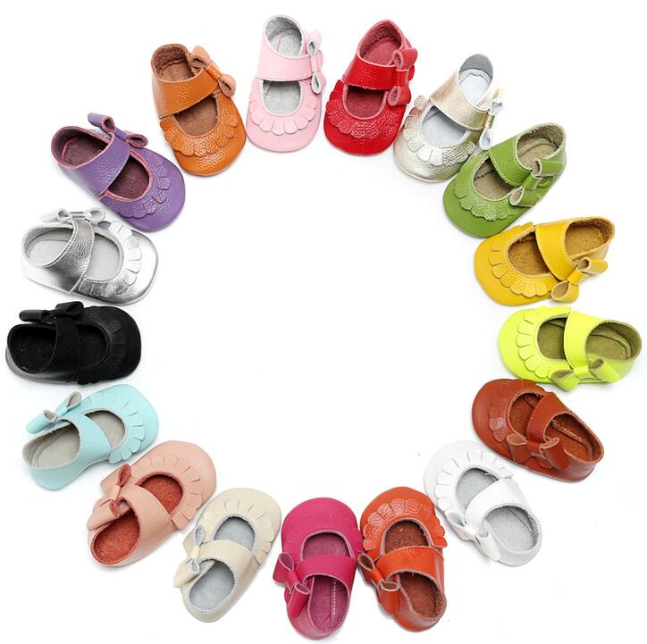 Soft Soled Cow Leather Newborn Baby Moccasins Shoes Lovely Sidebow Mary Jane First Walker Princess Shoes Fashion Crib Shoes