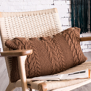 Brown rectangle knit cushion