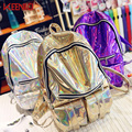 KEENICI 2016 Mochila Masculina Backpack Women  Silver Hologram Laser Backpack Men's Bag Leather Holographic Backpack Multicolor