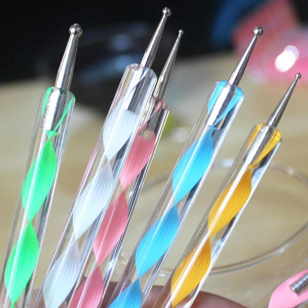 2018 nuevo 1 Marbleizing Nail Art pintura punteada pluma brillantina uñas manicura herramientas para arte de uñas punteado juego de puntos M1bb2