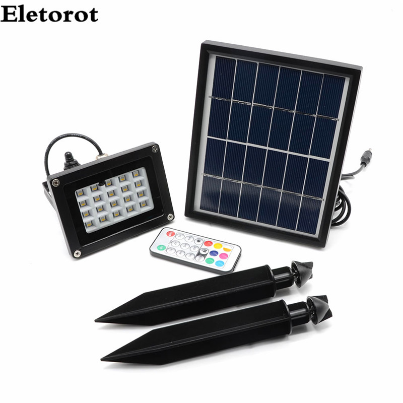 Eletorot Remote Control Garden Floodlight LED 20 RGB 5050LED Garden Security Light Waterproof Landscape Outdoor Panel Lamp 12v 50w colored rgb outdoor lights 110v wall projector flood light garden waterproof landscape lamp remote control by dhl 6pcs