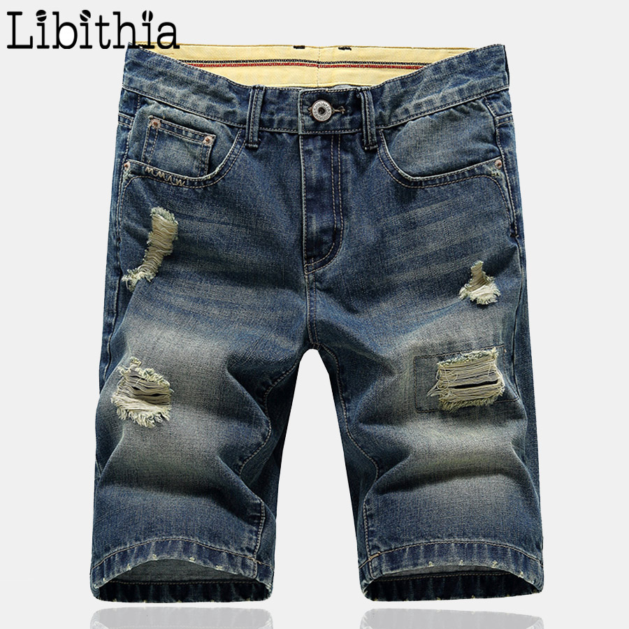 Mens Denim Shorts Straight Casual Knee Length Jeans Big Size 38 Hole 2016 New Fashion Summer Men Short Jeans Classic Blue S225 envmenst 2017 male floral bottom blue hole ankle length jeans men s jeans casual zipper straight denim trousers size 28 40