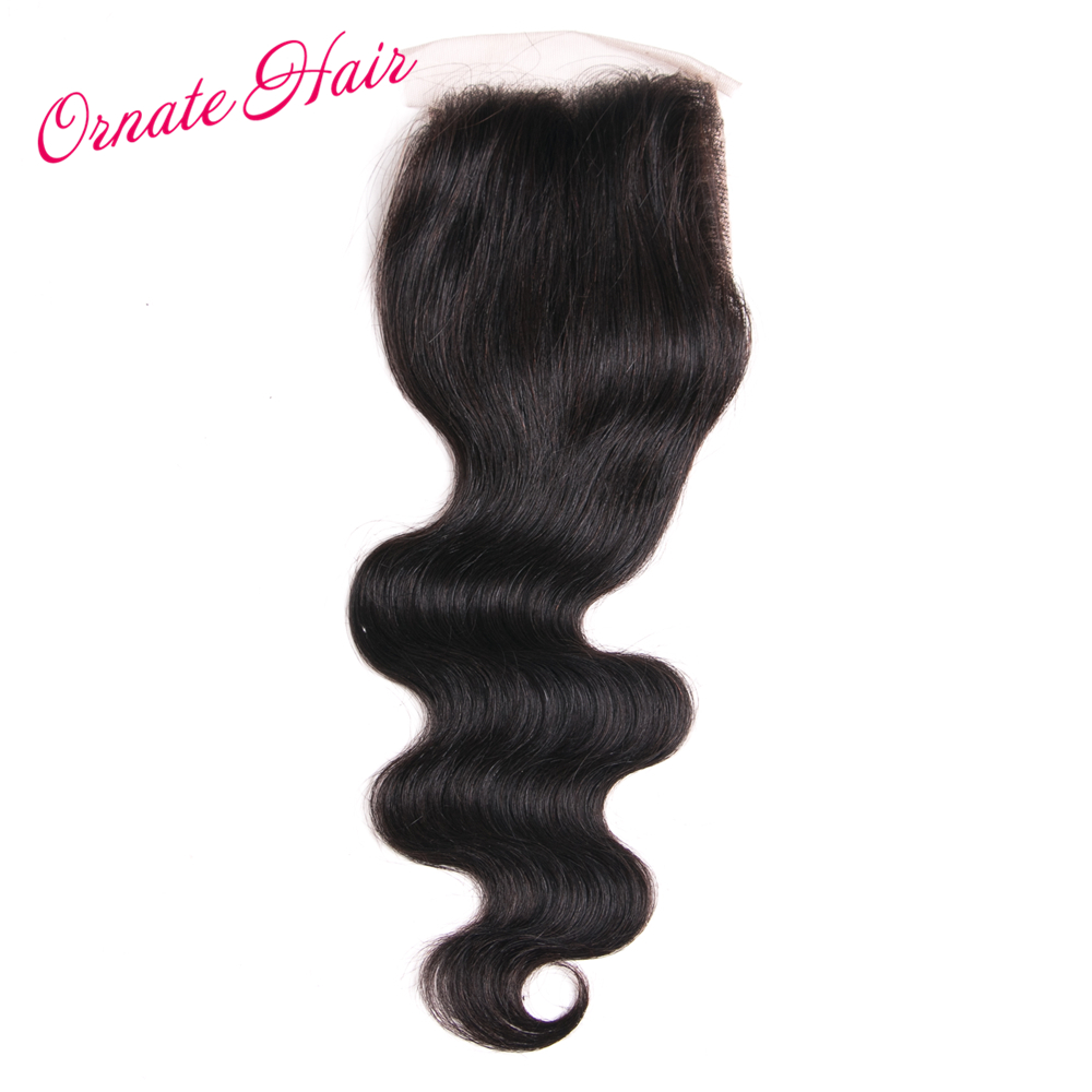Ornate Brazillian Hair Body Wave Closure 100% Human Hair Free Part Lace Closure Non Remy Hair Natural Color 4*4 Closure