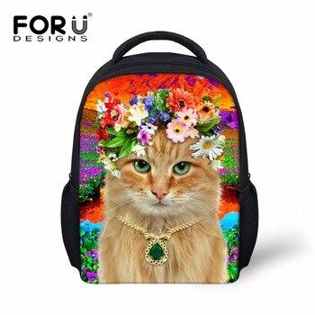 FORUDESIGNS Cute Mini School Bag For Little Girls 3D Animals Cat Children Schoolbags Kids Kindergarten Backpack Mochila Infantil фото