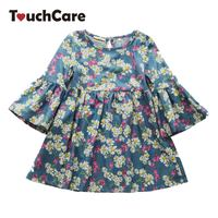 Little J Summer Flare Sleeve Girl Dresses Daisy Print Princess Dress For Girls Children Butterfly Flower