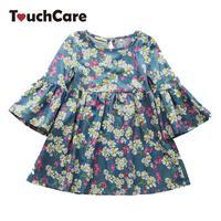 Little J Summer Flare Sleeve Girl Dresses Daisy Print Princess Dress For Girls Children Butterfly Flower