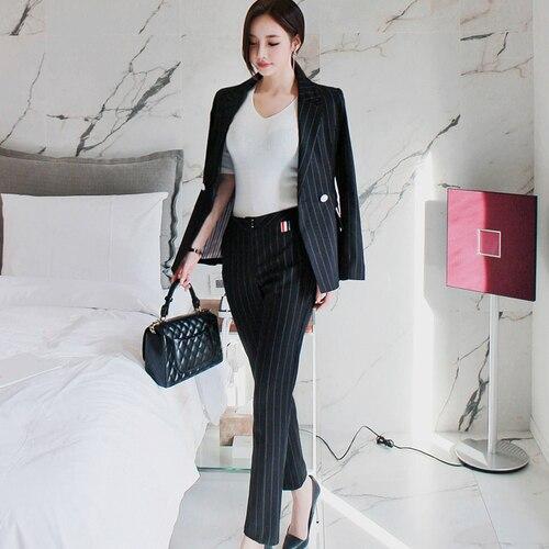 2018 Autumn Winter Work Fashion Pant Suits 2 Piece Set For Women Striped Blazer Jacket & Trouser Office Lady Suit Feminino