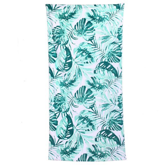 2018 Fashion Green Leaves Pattern Large Big Size Cotton Beach Towel
