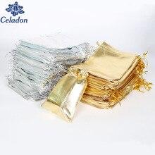 50ピースシルバー/ゴールド色金属箔オーガンザポーチクリスマスウェディングパーティーfavourギフトキャンディ袋7 × 9/9 × 12/10 × 15/13 × 18センチ