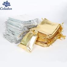 Pochettes en feuille Organza métallique couleur argent/or, 50 pièces, sacs à bonbons à dragées et cadeaux de mariage de noël, 7x9/9x12/10x15/13x18cm