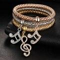 Luxo Banhado A Ouro de Aço Inoxidável 3 Pçs/set Charm Bracelet Pulseiras Preço de Fábrica de Jóias de Qualidade Superior Das Mulheres do Sexo Feminino