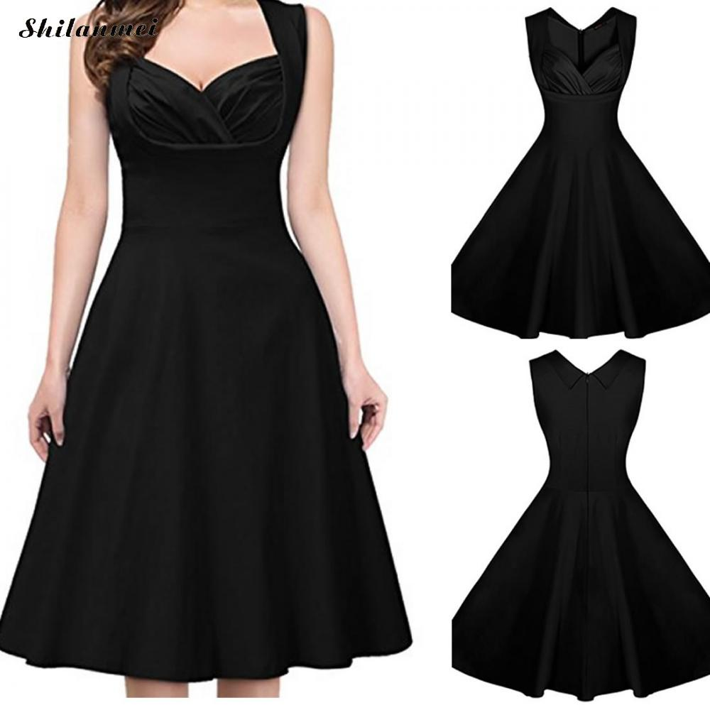 2018 Women Ruffled V Neck Vintage Dress Cocktail Party Pleated Swing ... 9cf3d2750cc7