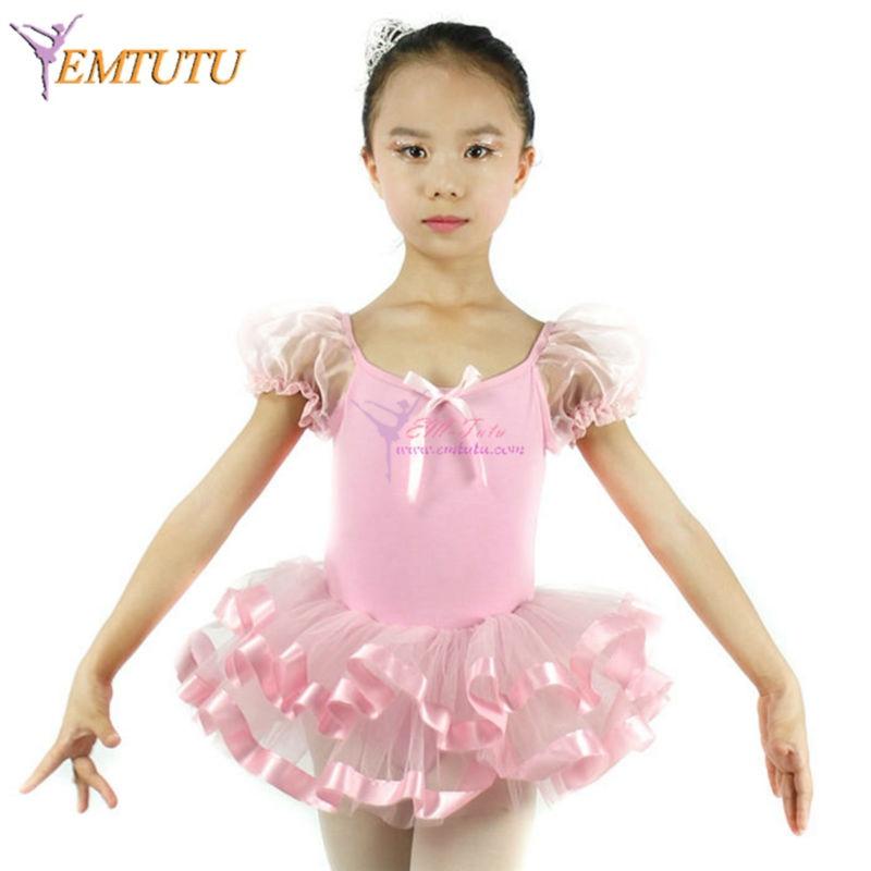 Organza Puff manga corta Ballet ropa niños ropa Ballet leotardo rosa ...