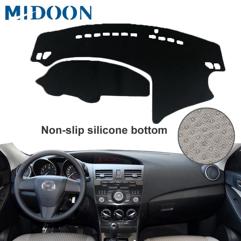 MIDOON Car Dashboard Cover For Mazda 3 M3 BL 2009 2010 2011 2012 2013 Automobile Dash Mat Dashboard Pad Carpet Anti-UV Anti-slip