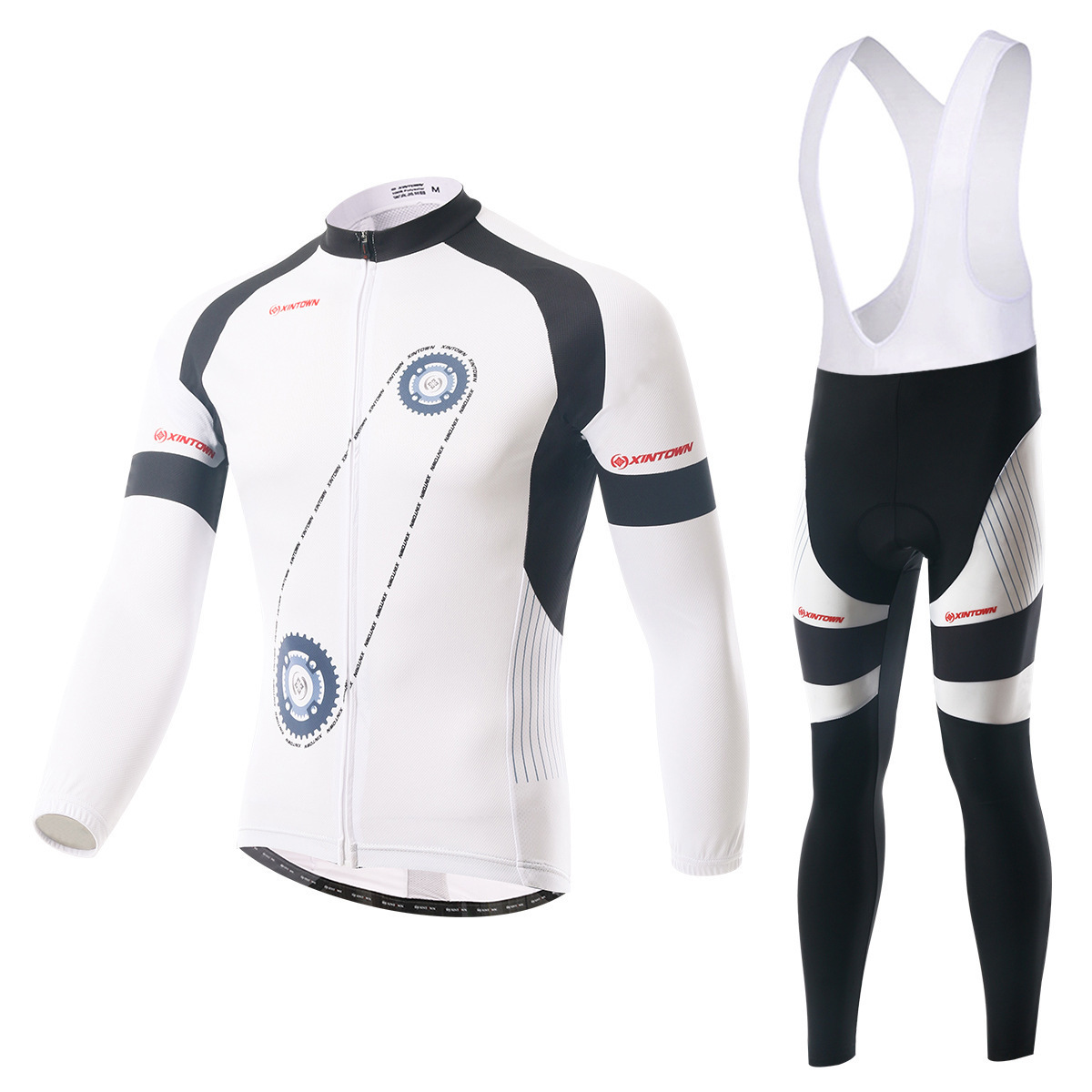 BOODUN Gear White Riding Clothes Straps Long Sleeve Suit Bicycle Serve Catch Down Windbreak Keep Warm Function Underwear