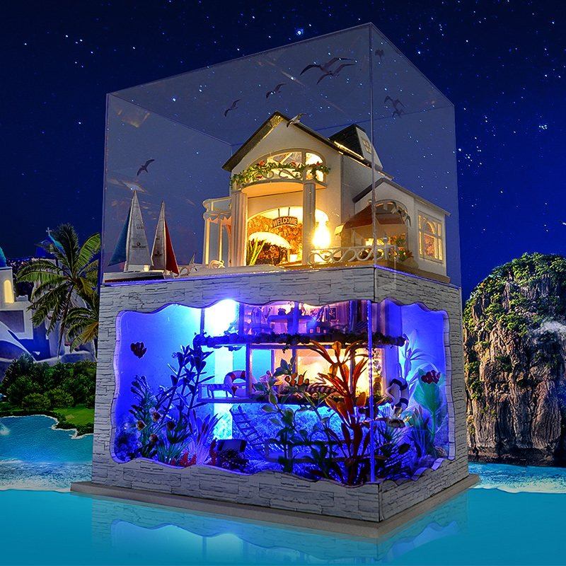 T-yu Hawaii Villa bricolage maison de poupée Miniature modèle maison avec couverture de lumière onirique cadeau décor Collection jouet pour filles Brrthday