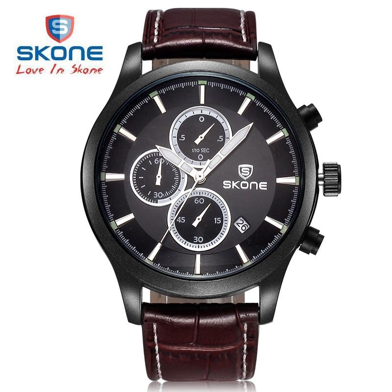 SKONE Chronograph Sport Watch Men Luxury Brand Shock Genuine Leather orologi horloges mannen montre homme Relogio