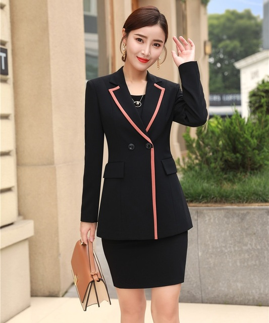 New 2019 Formal Ladies Dress Suits For Women Business Suits Black