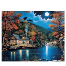 Acrylic Paint Colors,Scenery Painting For Living Room Decoration,Moon Lake,Diy Oil By Numbers