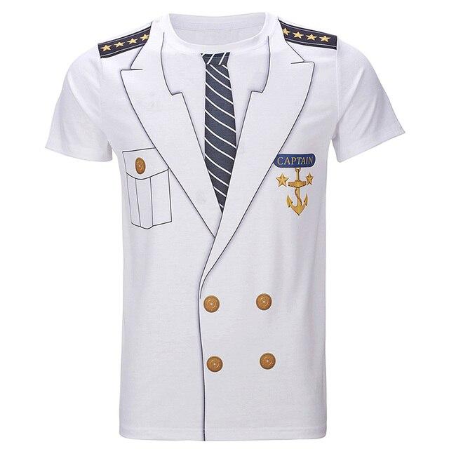 52a1a0b909b Men s Captain Costume T-Shirts Funny Cosplay Halloween Tee Adult Man Top  Cowboy Pirate Clown Pilot Uniform Carnival 3D Plus Size