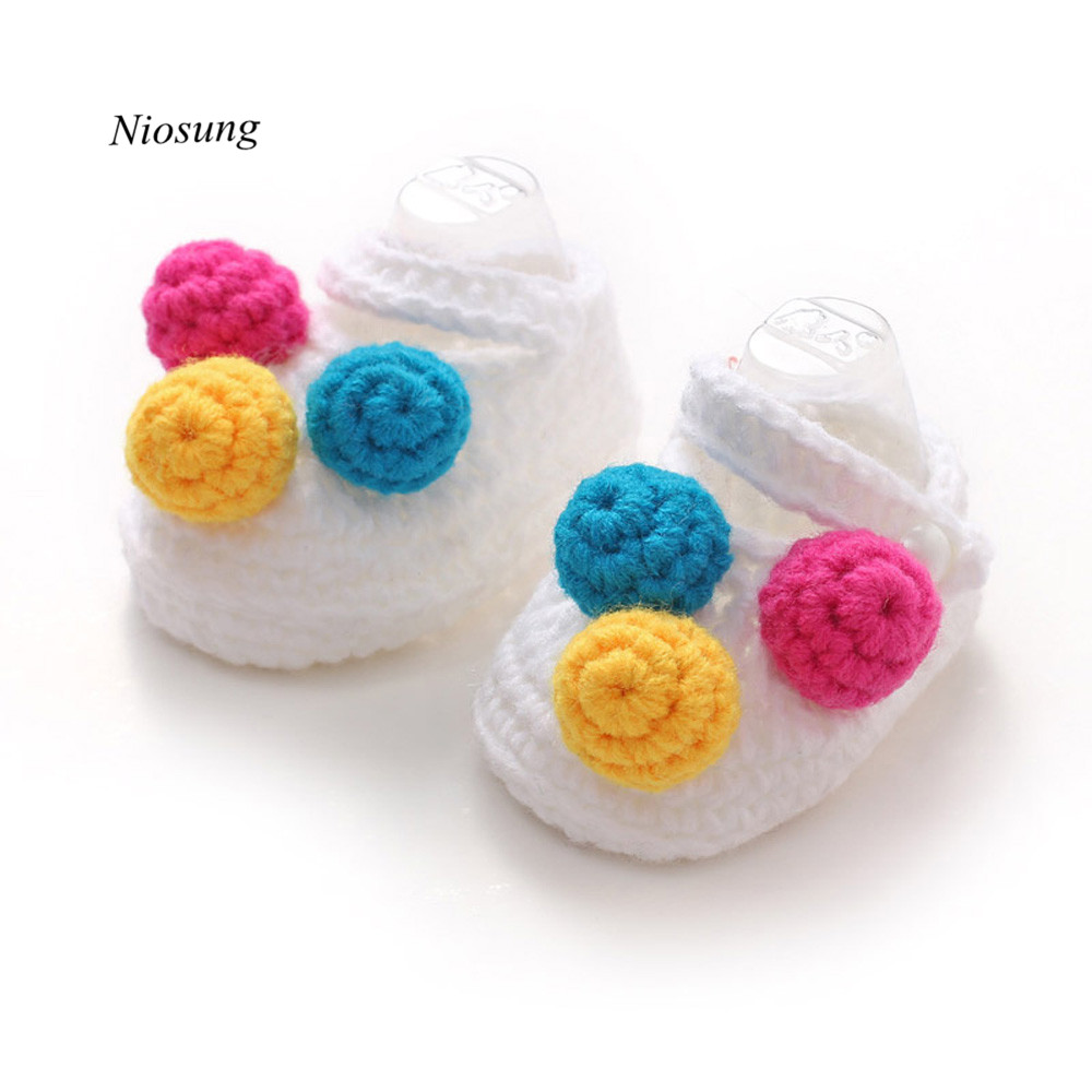 Infant Baby Girls Crochet Handmade Woolen Warm Knit Shoes White Newborn Princess Shoes