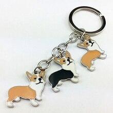 Welsh Corgi Pembroke key rings keychains for men women girls metal alloy silver color pet dog charm pendant bag car key chains