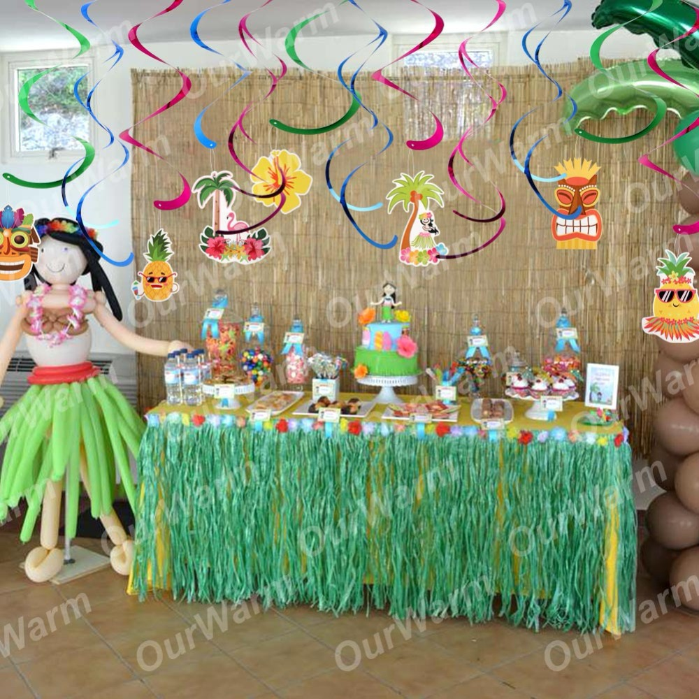 Decoration Anniversaire Hawaii Ourwarm Hawaii Beach Ceiling Hanging Swirl Decorations Hawaiian Luau Tropical Party Diy Decorations Happy Birthday Banner Flag