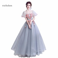 ruthshen Real Photo Cheap Evening Dresses A Line Flowers Beaded Vestido De Festa Party Dresses For Women Special Occasions 2018