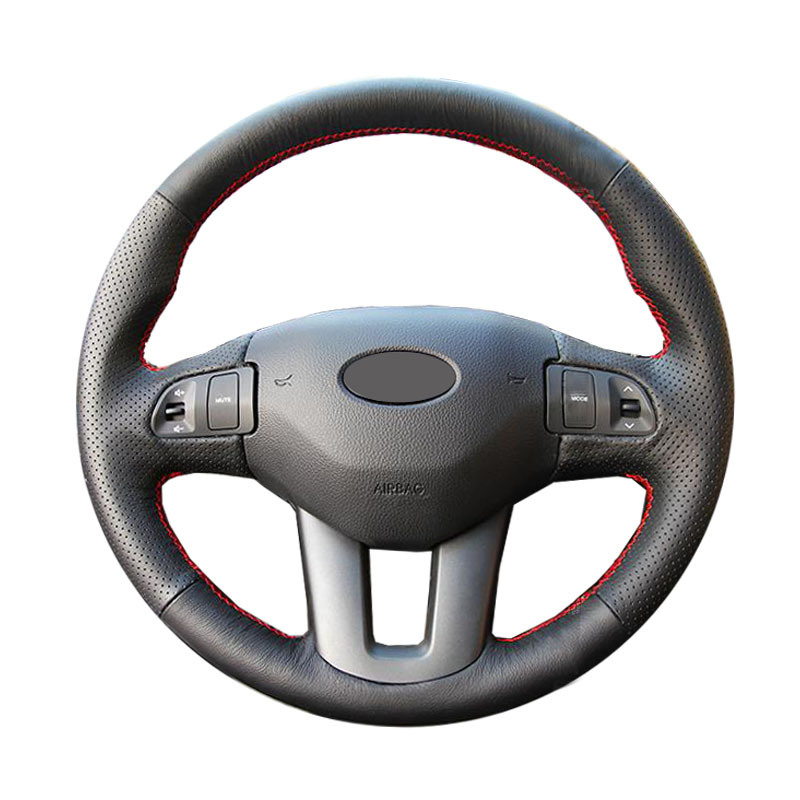 Genuine Leather car steering wheel Cover for Kia Sportage 3 2011-2014 Kia Ceed Cee'd 2010-2012/dedicated Steering-Wheel Braid цена