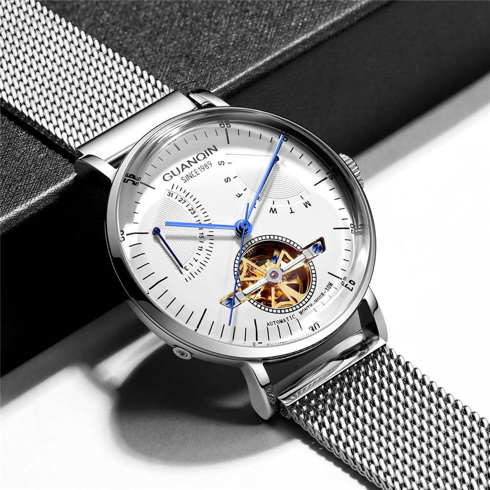 Reloj Hombre 2019 GUANQIN Automatic Mechanical Watch Men Luxury Flywheel Stainless Steel Waterproof Watches Mekanik Kol