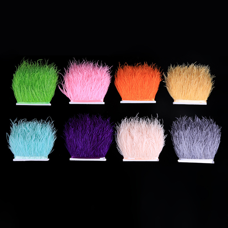 Multicolor Long Ostrich Feather Plumes Fringe Trim 10-15cm Feather Boa Stripe For Party Clothing Accessories Craft 1Meters/lot