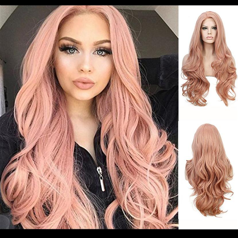 цены New Women's Fashion Wig Pink Synthetic Hair Long Wigs Wave Curly Wig+Cap 0703