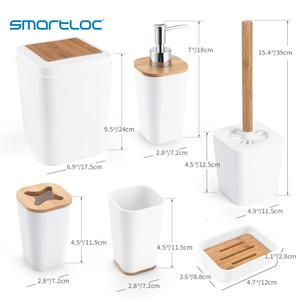 Image 5 - 6 Set smartloc plastik banyo aksesuarları seti diş fırçası tutucu diş macunu dağıtıcı kılıfı sabun kutusu tuvalet duş depolama