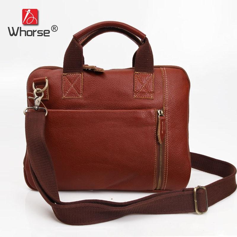 Thin Casual Vintage Real Cowhide Mens Business Briefcase 13 Laptop Bag Genuine Leather Messenger Bags For Men Handbag W092574