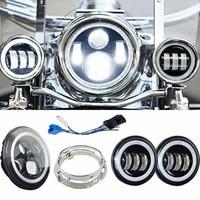White halo moto 7'' LED Headlight with Matching white halo 4.5 Inch LED Passing Lamps Fog Light for Harley Davidson