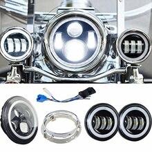 Белый halo moto 7 светодиодные фары с соответствующими Белый halo 4,5 дюйма Прохождение лампы противотуманных фар для Harley Davidson