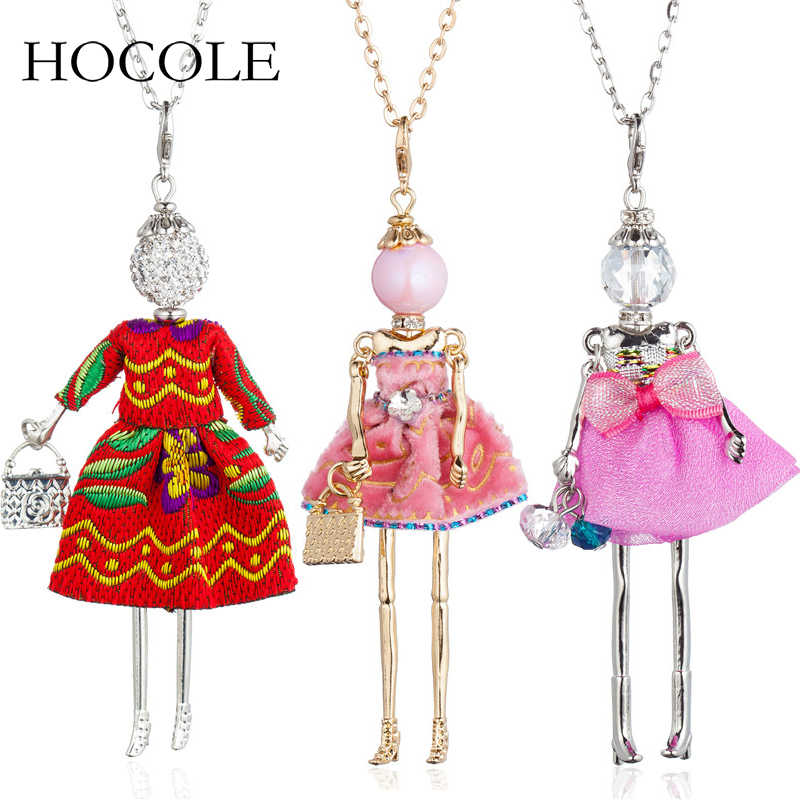 Lovely Rhinestone Dress Doll Pendant Necklace Long Chain Baby Girls Big Choker Necklaces For Women Maxi Jewelry Collier Femme