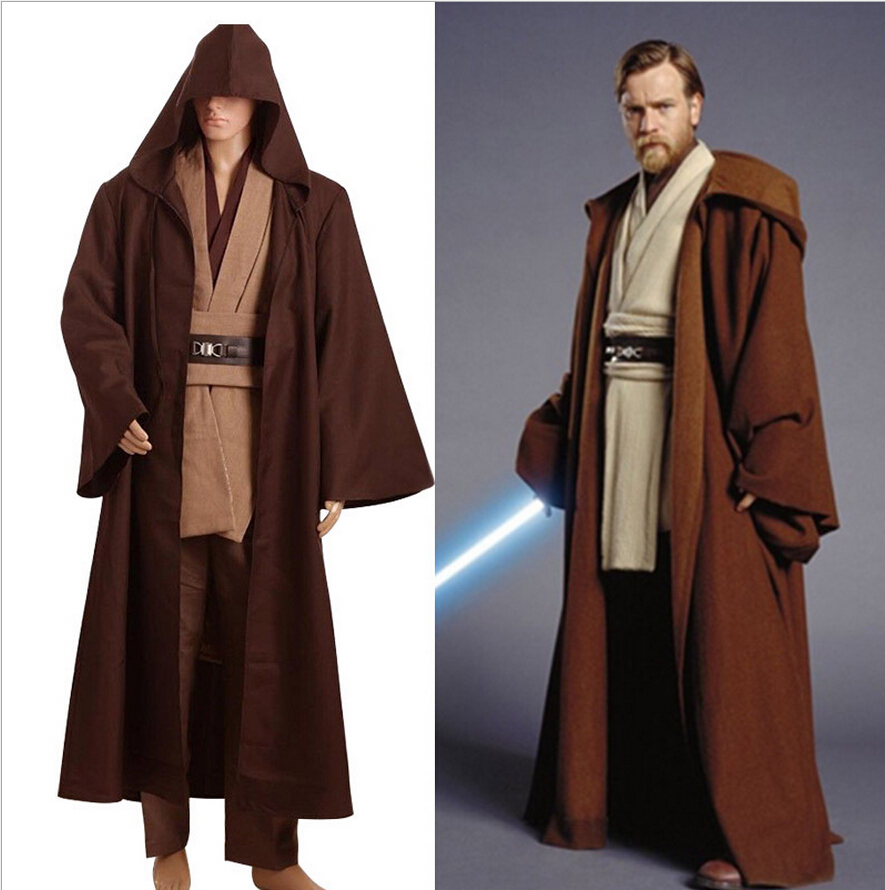 Star Wars Obi Wan Ben Kenobi Jedi TUNIC Movie Halloween Cosplay Costume Brown Cloak Robe Pants