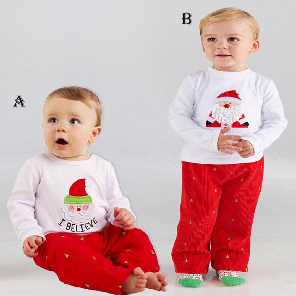 Stylish Kids Christmas Clothes Set Santa Claus Tree Pattern Long Sleeves White Shirt Tops with Red Pants Xmas Sleepwear Pajama