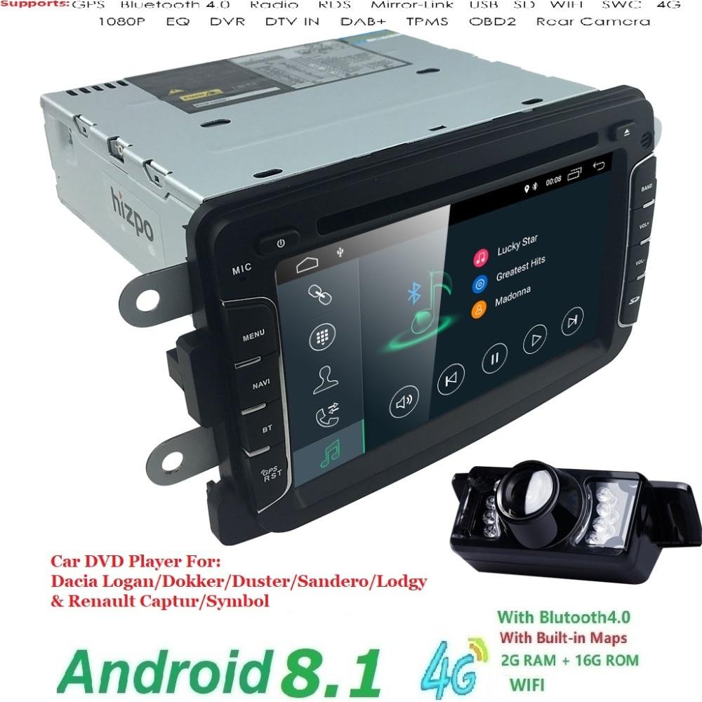 Android 8.1 Lecteur DVD de Voiture Pour Dacia Sandero Duster Renault Captur Lada Xray 2 Logan 2 RAM 4g WIFI GPS Navigation Radio CFC DAB +