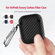For Airpods Case Luxury Carbon Fiber Case Wireless Bluetooth Headset Cover Silicon Earphone Case 1Pcs For Air Pods Charging Box