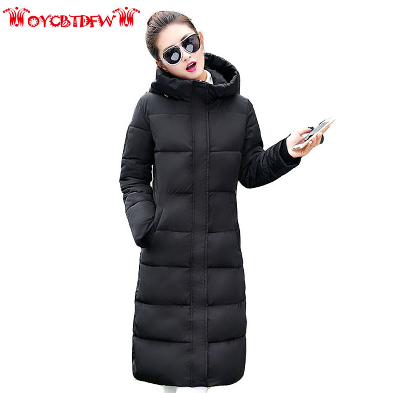 2017 Winter Fashion New Cotton Coat Pure Color Long Section Stand Collar Thickening Hooded Single-breasted Women Jacket Ly0223 free shipping boruoss 2015 new fashion winter cotton coat women short single breasted coat boruoss w1292