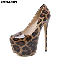 TINGHON Fashion Leopard Patent Leather Grain Women Shoes Sexy High Heels Round Toe Party Women Pumps Weeding shoes Top Quality