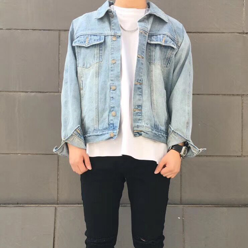 2017 New Arrival Vintage coats light blue cool jackets men clothes hip hop denim jean jacket clothing Coat short Denim